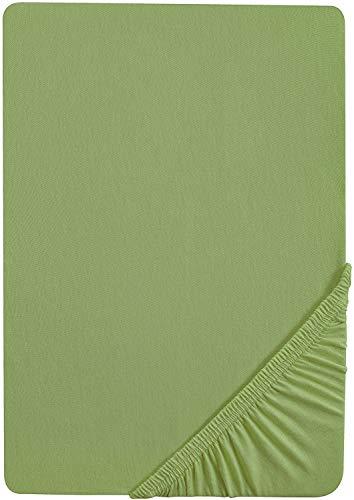 biberna 77144 Jersey-Stretch Spannbetttuch, nach Öko-Tex Standard 100, ca. 90 x 190 cm bis 100 x 200 cm, fichte
