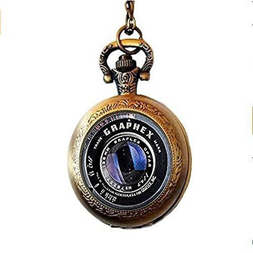 DZX Reloj de Bolsillo de Estilo Antiguo, Lente de cámara Antigua, Reloj de Bolsillo, Collar, joyería, fotógrafos, Regalo, Reloj de Bolsillo, Collar, joyería