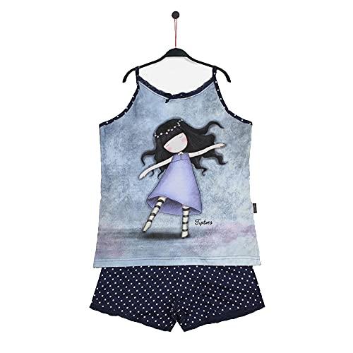 Santoro Gorjuss Pijama de 2 piezas, camiseta + pantalón corto de algodón para primavera y verano, original y auténtico, ideal para niña/mujer, en caja de regalo (50966, L)