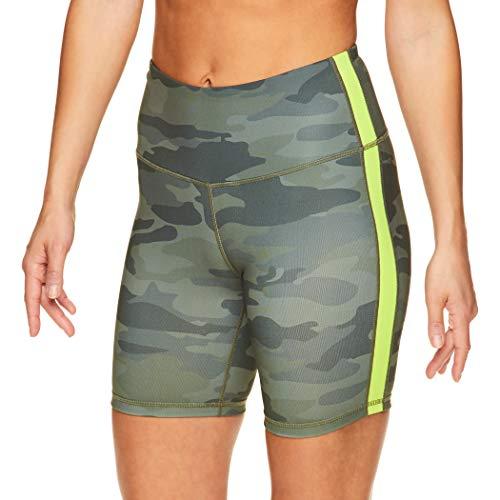 Reebok Women's Compression Running Shorts - High Waisted Performance Gym Yoga & Workout Bike Short - 7 Inch Inseam - Black Lichen Boost, Medium