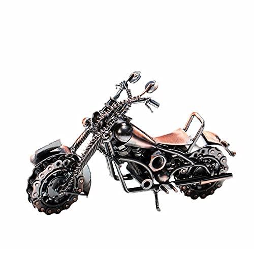 QTBH Estatuas de Feng Shui Vintage Motocicleta Modelo Metal MOTICO Hecho a Mano Moto Cadena de Cadena Ornamento Tono de Bronce Coleccionable para Oficinas de Hogar Desktop Estatua de Riqueza