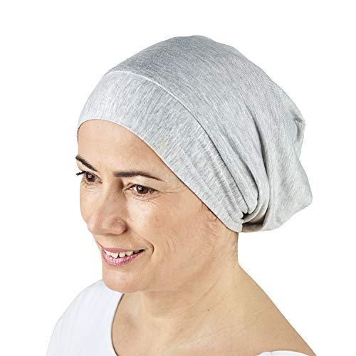 ThickTails Satin Lined Sleep Cap - Slouchy Satin-Lined Sleeping Beanie Hat Bonnet | Premium Quality Head Wear Gifts for Frizzy Hair Women | ULTRA SOFT & SMOOTH Natural Breathable Hat for Hair Loss