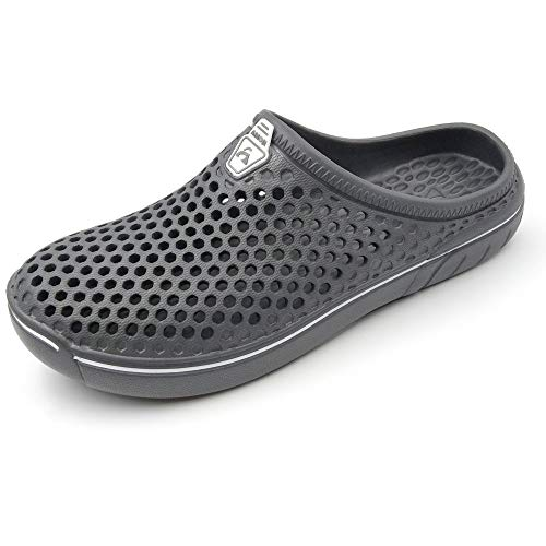 Amoji Unisex Garden Clogs Gardening Shower Shoes Slippers Quick Dry Summer Walking AM161 Grey 12 Women/10 Men