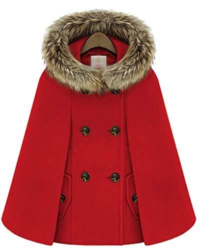 Damen Umhang Mit Fellkapuze Vintage Fashion Zweireiher Poncho Jacke Elegante Perfect Loose Casual Dicke Warm Winter Cape Mantel Hochwertigem Style (Color : Rot, Size : XL)