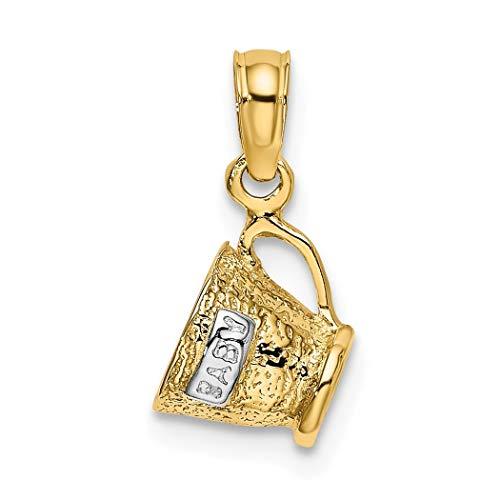 JewelryWeb 14ct met Rhodium 3-d Baby(wit) Beker Bedel