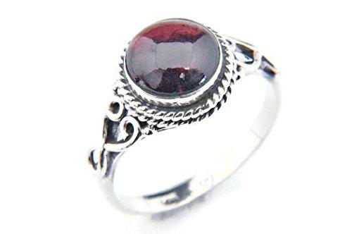Ring Silber 925 Sterlingsilber Granat rot Stein (Nr: MRI 24), Ringgröße:58 mm/Ø 18.5 mm
