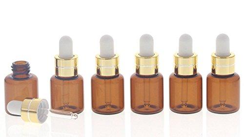 Kosmetex Serum-Flasche mit weißer Silikonpipette, 6 kleine braune 5ml Fläschchen mit Pipette, 6 Stück