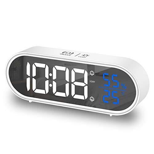 HOMVILLA Sveglia Digitale, sveglia da comodino con LED Temperatura, Snooze, Doppio allarme 40 suonerie per camera da letto, comodino, soggiorno, ufficio, viaggi(Bianca)
