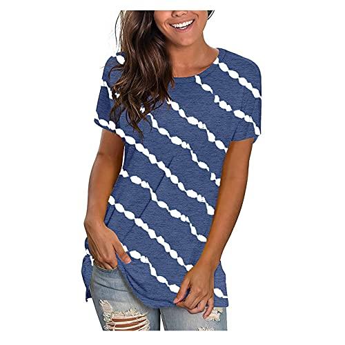 Camiseta de verano de manga corta para mujer, cuello redondo, a rayas, básica, camiseta deportiva, para niñas y adolescentes, informal, blusa para mujer, adolescentes y niñas Blue-E. XL
