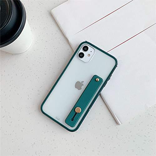 AAA&LIU Funda Transparente con Soporte para Pulsera para iPhone 11 Pro MAX Funda Trasera Transparente Cuadrada a Prueba de Golpes para iPhone 7 8 Plus, Verde Oscuro, para iPhone XR