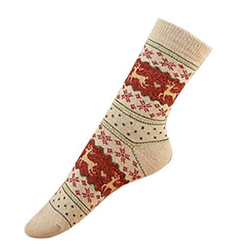 SHOBDW Mujeres Hombres Adultos Regalo de Navidad Vintage Lindo Elks de Navidad Copos de nieve Impresos Vintage Calcetines largos para el invierno Calcetines de algodón térmico suave 2 pares Beige