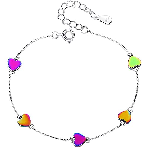 chaosong shop Pulsera en forma de corazón de plata ajustable pulsera de cadena de muñeca banda de la mano joyería para mujeres regalo del día de la madre