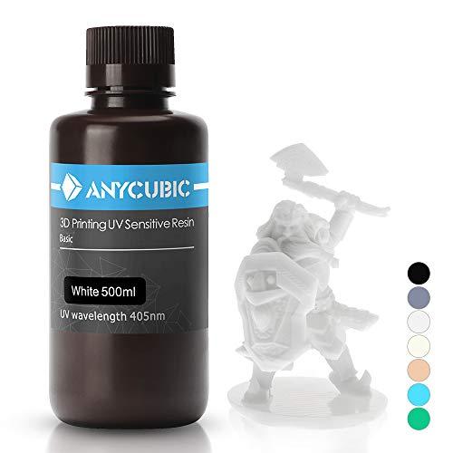ANYCUBIC 3D Drucker UV Resin 405nm schnellhärtendes Photopolymer für den Photon/S flüssiges 3D Resin hochpräzise für LCD/DLP/SLA 3D Drucker, 500ml Weiß