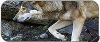 拡張ゲーミングマウスパッド、オオカミ自然動物ハンター毛皮の毛皮のパッド付きステッチエッジ