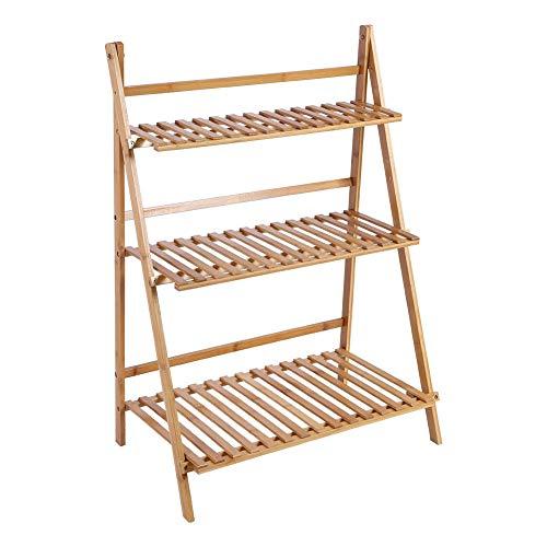 Soporte para plantas de bambú, estante para flores, estante plegable para macetas de 3 niveles, estante para balcón, sala de estar, jardín, 70x40x96cm(Color de madera)