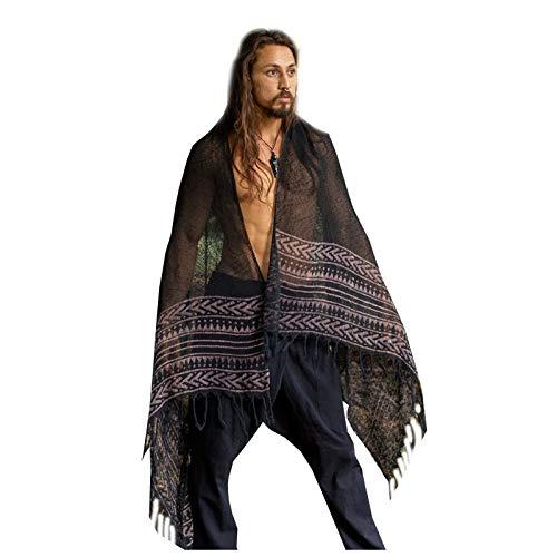BREEZE handgeweven zwarte katoenen sjaal sarong dreads haarband natuurlijk geverfd wrap blok gedrukt ademend Festival Gypsy Tribal Savage AJJAYA