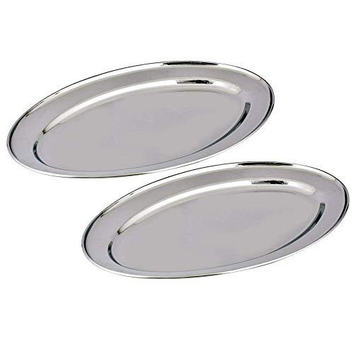 Gluecksshop Juego de bandejas ovaladas de acero inoxidable para fiestas, bandejas para servir, en diferentes tamaños, placas ovaladas pulidas de alto brillo (40 cm, 2 unidades)