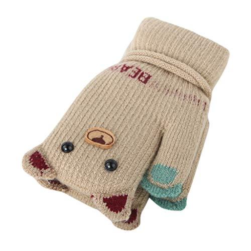 URSING Kinder Halbfinger Handschuhe Halshandschuhe Fingerlose Fäustlinge Winterhandschuhe Mädchen Jungen Verdickte Warme Skihandschuh Halshandschuhe Süß Strickhandschuhe Fingerhandschuhe