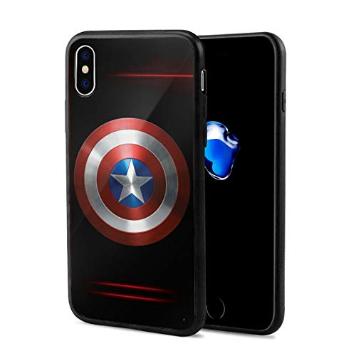 iPhone X Case iPhone Xs Case 5.8', Comics iPhone Case Plastic Full Body Protection Cover for iPhone X/Xs (Captain-America)