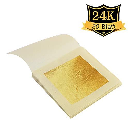 VGSEBA Echte Blattgold Essbar 24 Karat Goldfolie 20 Blatt 4.33cm zum Basteln Lebensmittel Kuchen Backen Torten Dekorfolie Kunsthandwerk