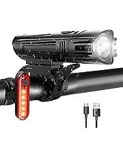 WOTEK Fietslichten Set USB Oplaadbare-waterdichte fietslichten met 380LM Front & 50LM achterlicht (4 lichtmodi, lithiumbatterij, 2 USB-kabels en antislipbevestigingen), Fietslichten met lange levensduur van de batterij