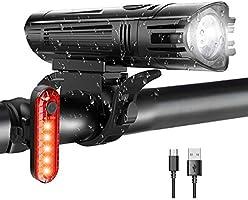 WOTEK Luces para Bicicleta LED Impermeable, Luces Bicicleta Delantera y Trasera Recargable USB, 4 Modos de Lluminación...