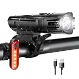 WOTEK Bike Lights Set USB Rechargeable-Waterproof Cycle Lights with 380LM Front&50LM Rear light(4 Light Modes, Lithium Battery, 2 USB Cables and Non-slip Mounts),Bicycle Lights with Long Battery Life