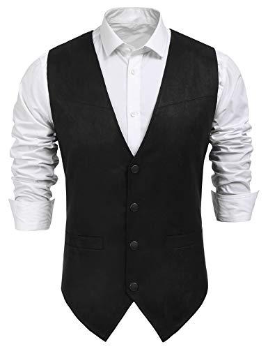 Coofandy Men's Slim Leather Vest Suede Vest Single-Breasted Vest, Black, Small