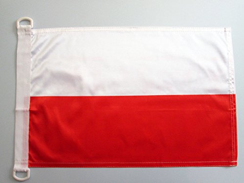 AZ FLAG Bandiera NAVALE Polonia 45x30cm - Bandiera MARITIMA Polacca 30 x 45 cm Speciale nautismo