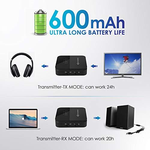 MYCARBON Bluetooth Adapter Audio 5.0 Bluetooth Transmitter Empfänger 2 in 1, Low Latency mit HD & LED Anzeige Bluetooth Sender für Kopfhörer Lautsprecher TV Laptop, TOSLINK/RCA/AUX Kabel