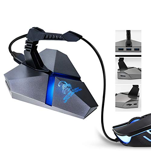 ABCOOL USB Hub 3.0 3-Port Type C Adapter MicroSD Card Reader Gaming Mouse Headset Bungee Wire Management Holder, Office Desk Cable Organizer, Windows MacOS Linux PS Supported, Colorful Backlight