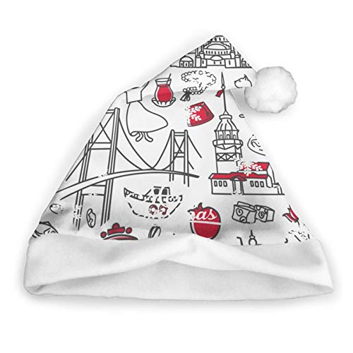 ZVEZVI Istanbuls Edificios Dibujados a Mano Monumentos histricos Sombrero de Pap Noel Gorro de Pap Noel de Felpa Corta con puos Blancos Sombrero de Navidad de Tela de Felpa para Adultos