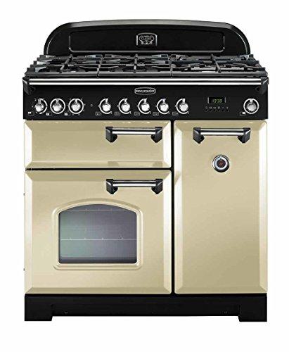 Rangemaster classic deluxe 90Dual Fuel–Cuisinière (autonome, électrique, gaz, 230–400V, a, noir, crème de couleur)