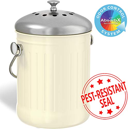iTouchless EcoWise 1.32 Gallon Compost Bin Container with Dual Deodorizer Filters and Stainless Steel Lid, Countertop Kitchen Trash Can, Odor-Stopping Power, Cream Color fits All Decors