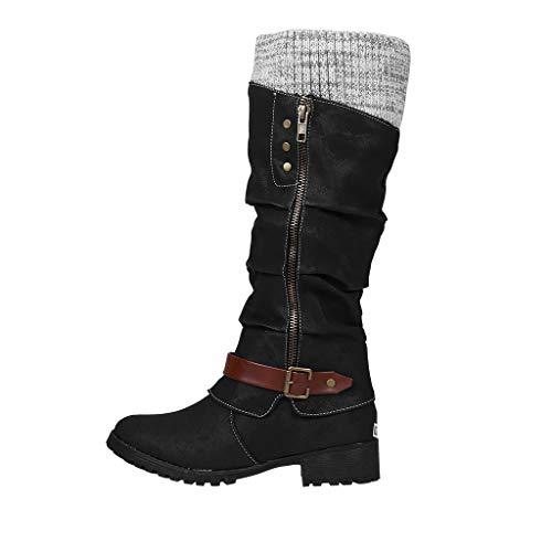 Hohe Stiefel für Damen/Dorical Frauen Schneestiefel Reitstiefel Niedrige mit Absatz Overknee Beiläufige Schnalle Langschaft Kniehohe Stiefel Ausverkauf(Schwarz,36 EU)