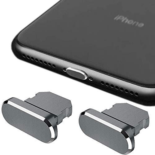 HOMEYU Enchufe Antipolvo de Aluminio de Primera Calidad para iPhone 12,11, X, XS, XR, 8, 7, Plus, MAX, Pro, [Paquete de 2] - Cubierta Jet para Puerto Lightning - (Gris Espacial)