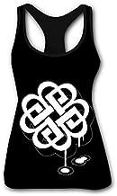 BRE_ak White Ben_jam Women's Tank Top Printed Summer Workout Training Tanktops Casual Shirts L