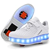 Ufatansy LED Shoes USB Charging Flashing Roller Sneakers Light Up Skates Shoes Sneakers with Wheels Kids Girls Boys (6.5 M US =CN40, Double Wheels, White)