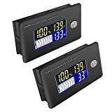 ZHITING 2pcs Medidor de Capacidad de Batería 12V-72V Voltímetro Monitor Multifunción Indicador de Temperatura con Pantalla LCD