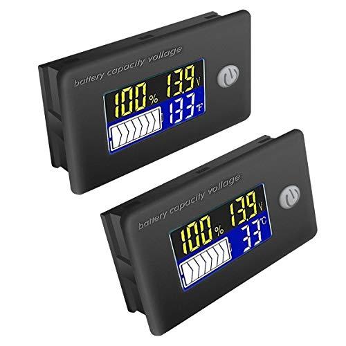 ZHITING 2pcs Tester di Batteria Voltmetro Digitale 12V-72V Indicatore Misuratore della Temperatura Impermeabile con Display LCD a Colori