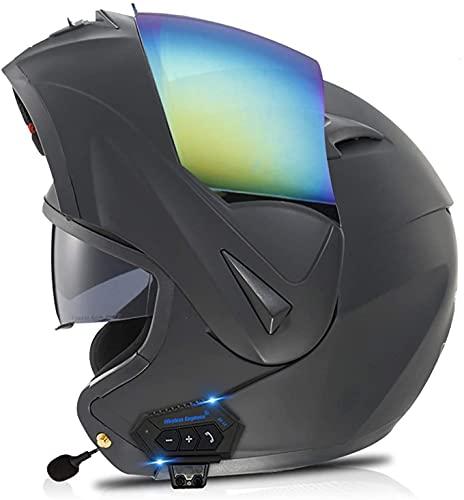 Cascos Bluetooth Modulares Abatibles Doble Visor Para Motocicleta, Casco Aprobado DOT/ECE, Sistema De Comunicación Integrado Con Radio FM MP3 Incorporada 9,M