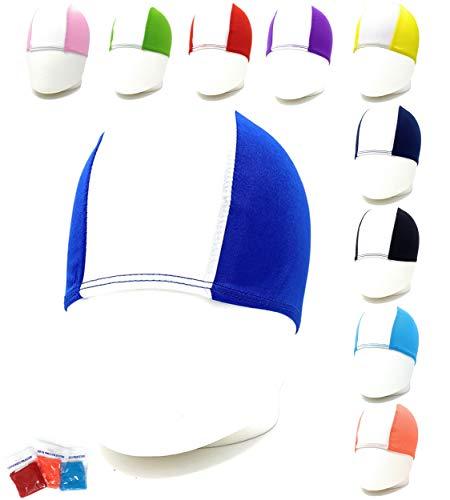 Cuffie Nuoto Professionali in Poliestere - SCONTI QUANTITÁ - Cuffia Piscina Poliestere Unisex, Cuffie Acquagym per Adulti e bambini. Quantità 1pz - 10pz - 25pz -50pz -100pz. (Bianco/Royal Blu)