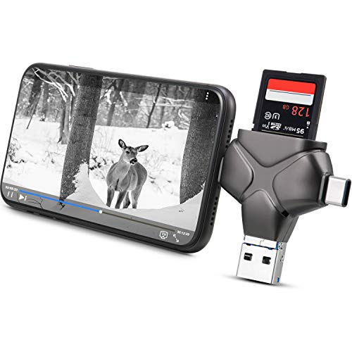Trail Camera Viewer SD Card Reader Compatible with iPhone, iPad, Mac, Android, Memory Card Adapter Supports SD, Micro SD TF, Photo Video Viewer for Wildlife Scouting Game Camera (Metallic Gray)