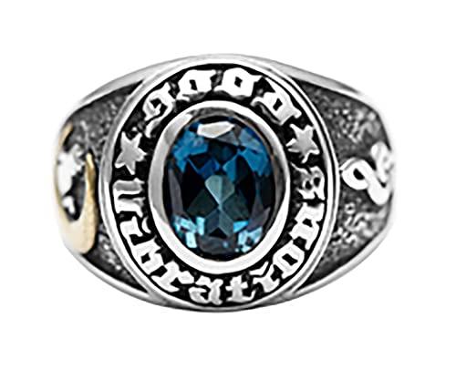 RXSHOUSH Anillos para hombres 925 plata topacio anillo dominante joyería Ins novio hijo pareja anillo de boda 22 #