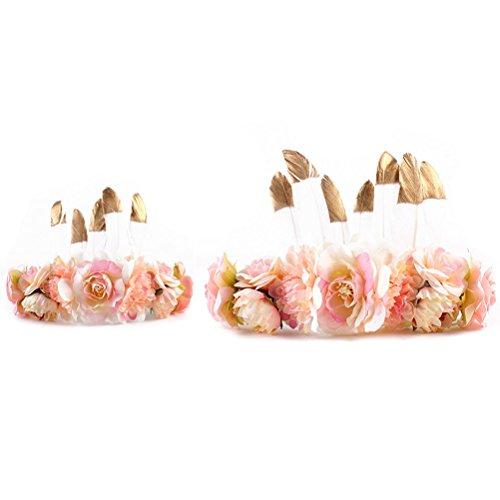 Bloem kroon set, 2 stuks kamelie hoofdband met veer decor carnaval haaraccessoires voor vrouwen meisjes kaki