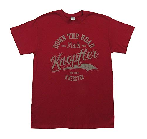Mark Knopfler Down The Road Tour 2019 Mens Maroon T Shirt New