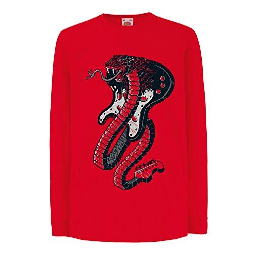 lepni.me Kinder-T-Shirt mit Langen Ärmeln E-Gitarren-Kobra-Schlange, Rock-and-Roll-Liebhaber (14-15 Years Rot Mehrfarben)