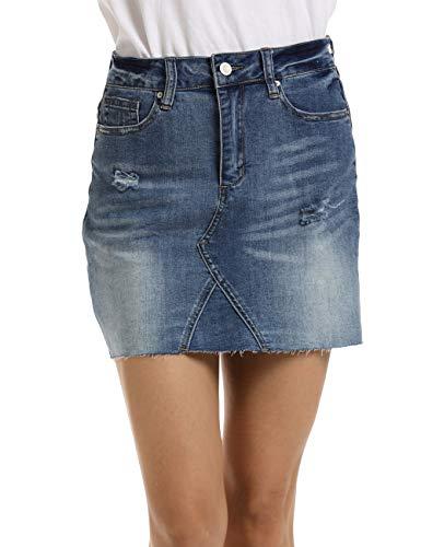 Dilgul Falda Vaquera Mujer Minifalda Rotos Denim Corta Mini Falda Azul Claro Small