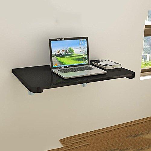 MEIDUO Tables Double support avec table murale de table murale pliez la table contre le mur Bureau d'ordinateur (Couleur : Noir, taille : 120 * 50CM)