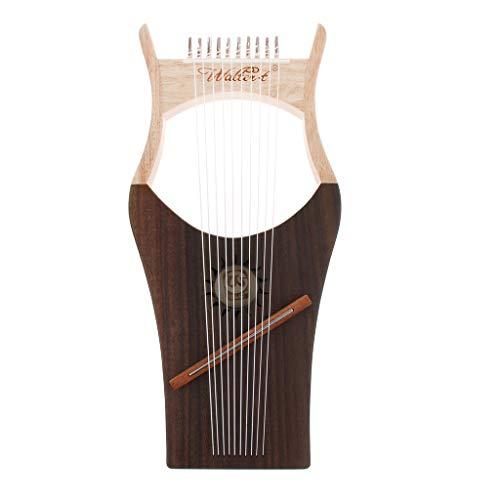 kesoto Exquisita Arpa De Lira De Caoba De 10 Cuerdas Con Instrumento De Cuerda De Llave De Afinación